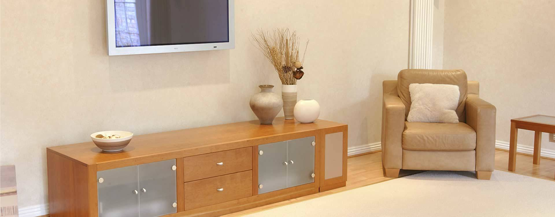 low level cherry wood tv storage unit